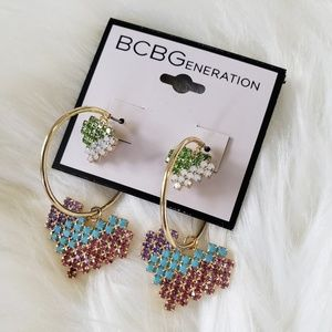B2G1 NWT BCBG Pixelated Double Heart Hoop Earrings